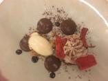Chocolat café, ganache noisette et glace au caramel beurre salé